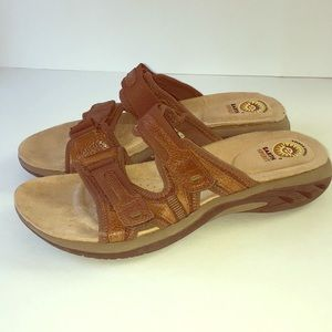 Earth spirit Alana Slide Sandals Brown Leather 9